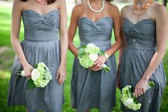 gray bridesmaid dress w/white and green bouquet
