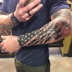 90 patriotic tattoos for men nationalistic pride design ideas rh pinterest com black american flag sleeve tattoos african american flag tattoo