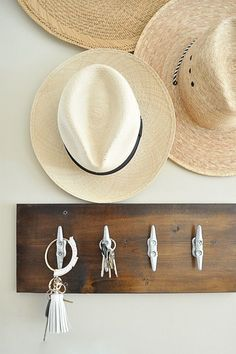 Need to hang your hats for summer, create a little display at your front door!