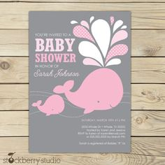 Girl Whale Baby Shower Invitation - Printable