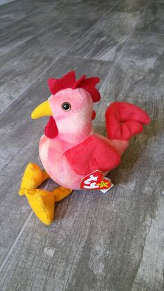 ac52adff592 CHICKEN Farmhouse Kitchen Collectible Doodle Rooster Rare PVC Pellets  Errors Plush Ty Beanie Baby Tie Dyed