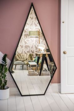 Houzz of 2018 - kids bedroom with dusky pink walls and funky geometric black mirror decoration design Home Decor Bedroom, Diy Home Decor, Bedroom Ideas, Mirror Bedroom, Bedroom Lamps, Wall Lamps, Bedroom Lighting, Bedroom Apartment, Cheap Apartment