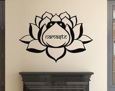 Fleur Wall Decals méditation signe Lotus Decal Namaste vinyle autocollant Art Home Decor chambre fenêtre Yoga Studio Stickers Murals L625