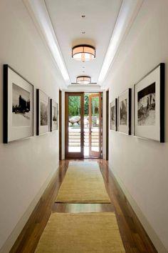 Little piece of me long hallway, dark hallway, modern hallway, upstairs White Hallway, Hallway Wall Decor, Hallway Walls, Hallway Ideas, Corridor Ideas, Entryway Ideas, Hall Way Decor, Entryway Decor, Front Hallway