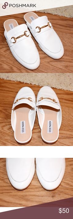 Steve Madden Kandi White Leather shoes Only wear once. In great condition. Flat. Ask me if you have any questions :) Steve Madden Shoes Flats & Loafers