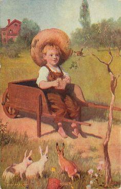 Little Farm Boy Wheelbarrow Feeds Bird Not Bunnies The Miser Rabbit Ears Up Vintage Cards, Vintage Postcards, Farm Boys, Rabbit Art, Easter Art, Bunny Art, Vintage Drawing, Vintage Easter, Bird Feeders