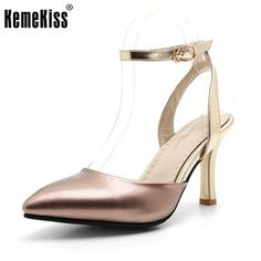 ba7d2209913c Size 34-43 Women s High Heel Sandals Women Ankle-Strap Patent Leather Shoes  Fashion