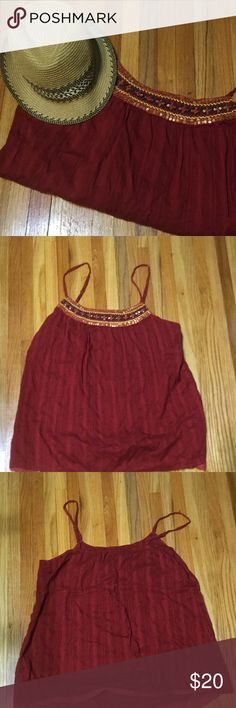 Cute embellished red top Maurice's cute embellished red tank. Size: US 1x. It is in like new condition. Maurices Tops Tank Tops