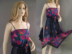 Vintage Dress 70s Sheer Navy Hanky Hem Pink by vintagedaisydeb, $74.00