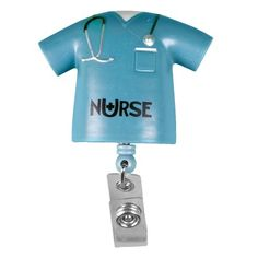 """The """"Nurse"""" Scrub-Shaped Retractable Badge Holder keeps your ID handy and also identifies your profession thanks to our original """"Nurse"""" logo."""