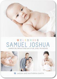 Adorable Welcome: Ocean - Boy Photo Birth Announcements in Ocean | Magnolia Press