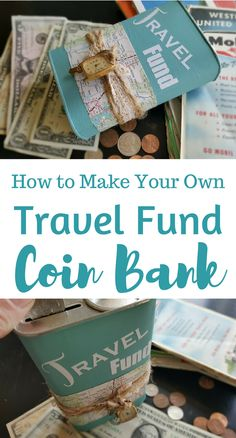 This month I dove deep into my craft stash and found a tin piggy bank, some vintage maps and some vinyl letters to create this travel fund coin bank. Craft Tutorials, Craft Projects, Craft Ideas, Diy Ideas, Fundraising Crafts, Travel Fund, Map Crafts, Make Your Own, Make It Yourself