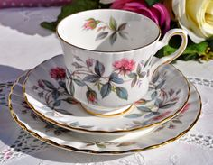 Royal Stafford Bramble Rose Vintage Bone China Teacup Trio