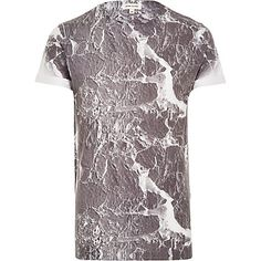Grey marble print t-shirt - t-shirts / vests - sale - men Marble Print, T Shirt Vest, Mens Sale, Island Man, River Island, Sale Items, Mens Fashion, Grey, Tat