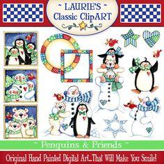 Penguin Clip Art, muñeco de nieve Clip Art, Oso Polar Clip arte, Laurie Furnell, invierno Clip Art, Clip Art de Navidad, Scrapbooking, Papercrafts