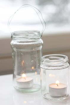 Recycle simple glass jars for tealights