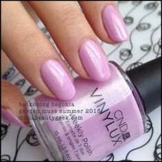 """CND's """"Beckoning Begonia """" gel/shellac from its Garden Muse Collection 2015. Very pretty lilac with light shimmer. Love!"""