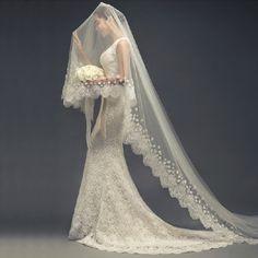 Romantische lange verschönert Hochzeitsschleier