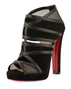 Commandanta+Suede/Mesh+Peep-Toe+Red+Sole+Bootie,+Black+by+Christian+Louboutin+at+Neiman+Marcus.