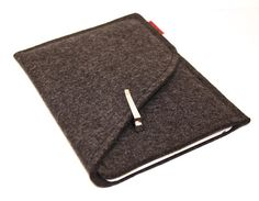 iPad Mini Sleeve/Case Wool Felt Double Pocket in Anthracite