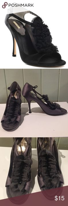 """GREY max studio salsa heels Grey satin (stock photo is back) ruffle t strap heels with black accent beading. 4"""" heel. Worn to two events and surprisingly comfortable. Max Studio Shoes Heels"""
