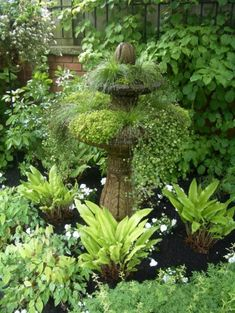 Great planting idea for a shady area ~ complete with focal point! fountains, bird baths, gardens, planter, garden design ideas, landscape designs, birds, shades of green, bath design