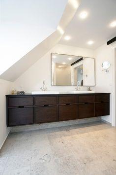 Bathroom Model Hoelgaard - Garde Hvalsøe ● Thought and Wood Bathroom Inspo, Bathroom Inspiration, Master Bathroom, Bathroom Furniture Design, Bath Tiles, Bath Decor, Interior Architecture, Small Spaces, New Homes