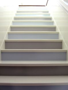 I have been seeing some wonderful stair riser ideas. This is very important...use tile, paint, wallpaper with lexon cover.