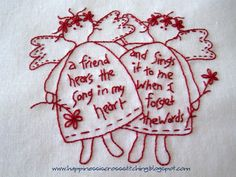 Happiness is Cross Stitching : Free Christmas Stitchery patterns and a tutorial for a halloween cross stitched scissor fob Mais Christmas Embroidery Patterns, Embroidery Patterns Free, Embroidery Stitches, Cross Stitch Patterns, Embroidery Designs, Primitive Embroidery, Primitive Stitchery, Vintage Embroidery, Halloween Cross Stitches