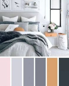 Beautiful bedroom colors - 74 beautiful bedroom color schemes ideas that look so amazed 4 – Beautiful bedroom colors Living Room Color Schemes, Paint Colors For Living Room, Living Room Designs, Apartment Color Schemes, Color Schemes For Bedrooms, Bedroom Colour Schemes Neutral, Gray Color Schemes, Grey Bedroom With Pop Of Color, Bedroom Color Palettes