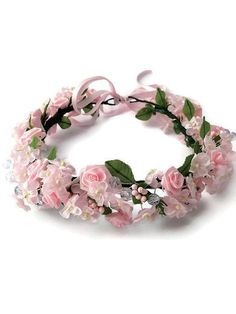 Pink flower crown Bridal floral crown by CraftCelebration on Etsy