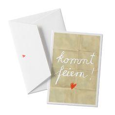 Kommt Feiern! Einladungskarte zur Party auf Büttenpapier mit Umschlag