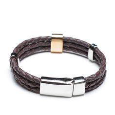 coffee leather bracelet with steel clasp, 00494