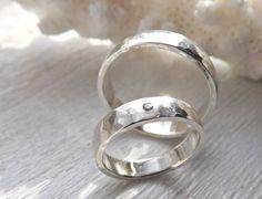 Diamond ring set silver wedding bands rustic wedding by CrazyAssJD