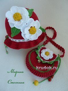 Шапочка и сумочка крючком. Работы Марины Стоякиной вязание и схемы вязания