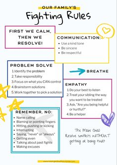Siblings fighting can be tiring and exhausting as a parent. Teach your kids HOW to fight and basic conflict management skills. Here are different ways to give kids the life skills they need. Don't forget to download your free printable - poster to hang on your fridge. Parenting Styles, Parenting Hacks, Authoritative Parenting Style, Sibling Fighting, Rules For Kids, Sibling Relationships, Conflict Management, Family Rules, Positive Discipline