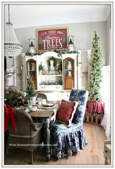 French Country Farmhouse Christmas Dining Room-Red Plaid-From My Front Porch To Yours
