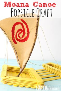 Moana Canoe Popsicle Craft! Here's a fun and easy craft to do with the kiddos inspired by Disney's newest animation Moana! - abccreativelearning.com