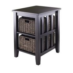 Walmart Winsome Morris Side Table with 2 Foldable Baskets $122.07 For receiver next to fireplace?