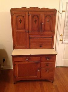 Vintage 40s Wood Kitchen Cabinet Shelves Free Standing Small Space