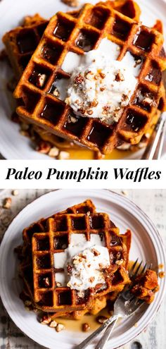 These Paleo Pumpkin Waffles are crisp on the outside, soft inside and filled with warm fall spices. They're just sweet enough to enjoy alone or you can top with all your favorites like maple syrup, coconut whipped cream and chopped pecans. They're kid approved and freeze well so you can enjoy one on the go! Gluten free, dairy free. #paleo #pumpkin #cleaneating #waffles #glutenfree Pumpkin Waffles, Pumpkin Coffee Cakes, Pumpkin Cinnamon Rolls, Pumpkin Cookies, Baked Pumpkin, Pumpkin Pie Spice, Pumpkin Puree, Pumpkin Recipes, Fall Recipes