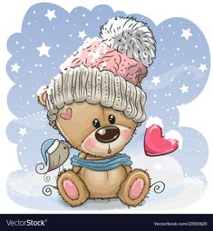 Cartoon Teddy bear in a knitted cap sits on a snow. Cute Cartoon Teddy bear in a knitted cap sits on a snow royalty free illustration Cartoon Cartoon, Teddy Bear Cartoon, Cute Cartoon Animals, Cute Teddy Bears, Baby Animals, Tatty Teddy, Christmas Drawing, Christmas Art, Christmas Colors