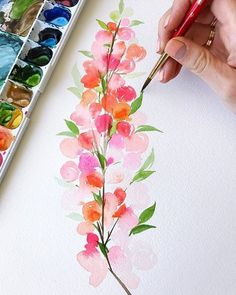 55 new Ideas for flowers painting watercolor cherry blossoms Watercolor Cards, Watercolour Painting, Watercolor Flowers, Painting & Drawing, Watercolors, Drawing Flowers, Watercolor Design, Painting Flowers, Watercolour For Kids