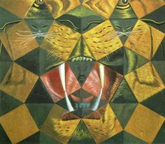 'Study for 'Fifty Abstract Pictures Which as Seen from Two Yards Change into Three Lenins Masquerading as Chinese and as Seen From Six Yards Appear as the Head of a Royal Bengal Tiger', 1963', Oil by Salvador Dali (1904-1989, Spain)