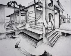 project ideas--surreal interiors art one 2 point perspective drawin One Point Perspective Room, Perspective Art, Linear Perspective Drawing, Ap Studio Art, Fantasy City, Drawing Projects, Art Projects, High School Art, Landscape Drawings