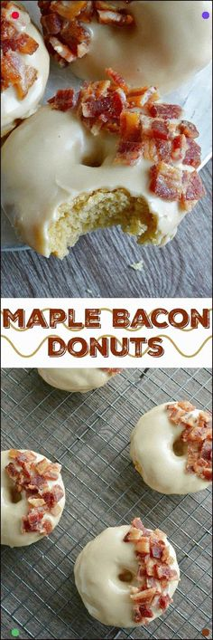 These Maple Bacon Donuts have to be one of the best flavor combinations ever!, Desserts, These Maple Bacon Donuts have to be one of the best flavor combinations ever! Brown sugar and sour cream baked donuts with a pure maple syrup glaze th. Köstliche Desserts, Delicious Desserts, Yummy Food, Health Desserts, Maple Bacon Donut, Maple Bacon Cupcakes, Homemade Donuts, Homemade Vanilla, Homemade Breads