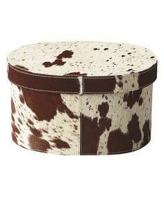 Another great find on #zulily! 8'' Oval Cowhide Storage Box #zulilyfinds