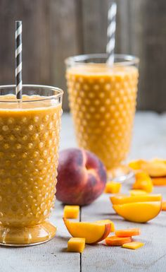 Tropical Smoothie with Peaches, Mango and Pineapple.