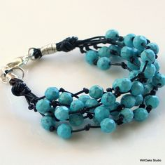 Faceted Turquoise Beads on Black leather bracelet