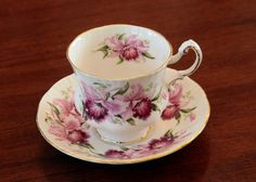 Paragon Fuchsia Floral Tea Cup & Saucer with by MayberryGraphics